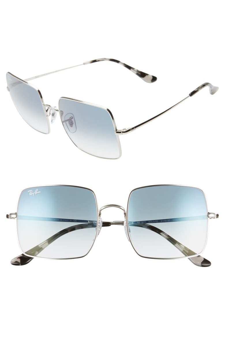 RAY-BAN 54mm Square Sunglasses, Main, color, SILVER/ BLUE GRADIENT