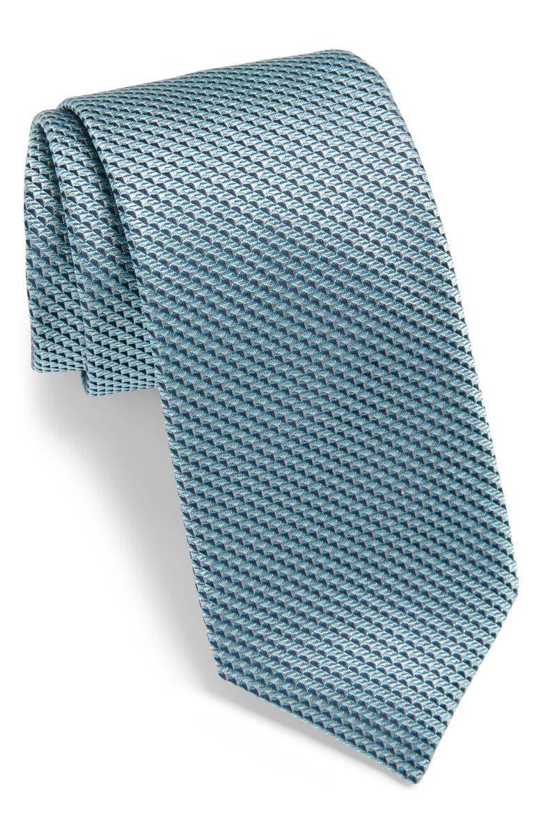 BOSS Geometric Silk Tie, Main, color, BLUE