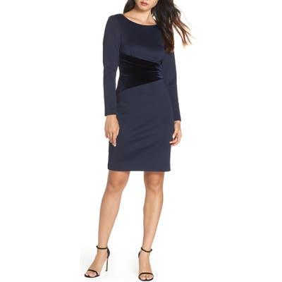 Vince Camuto Long Sleeve Velvet Detail Cocktail Dress, Blue