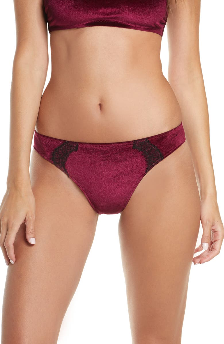 JASON WU Collection Cheeky Velvet Lace Panties, Main, color, BURGUNDY