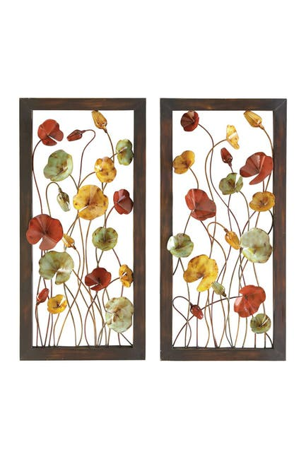 Image of Willow Row Multi Decorative Iron Wall Plaque - Set of 2