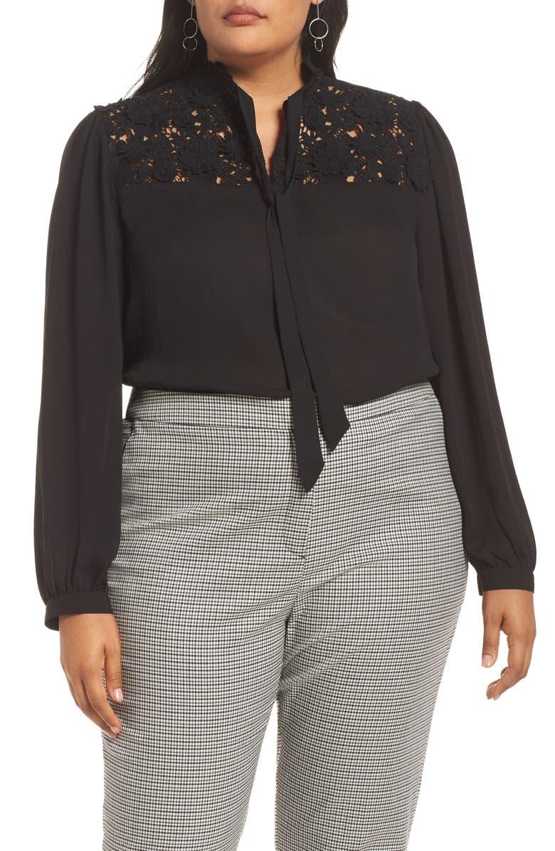 HALOGEN<SUP>®</SUP> Lace Yoke Tie Neck Blouse, Main, color, BLACK