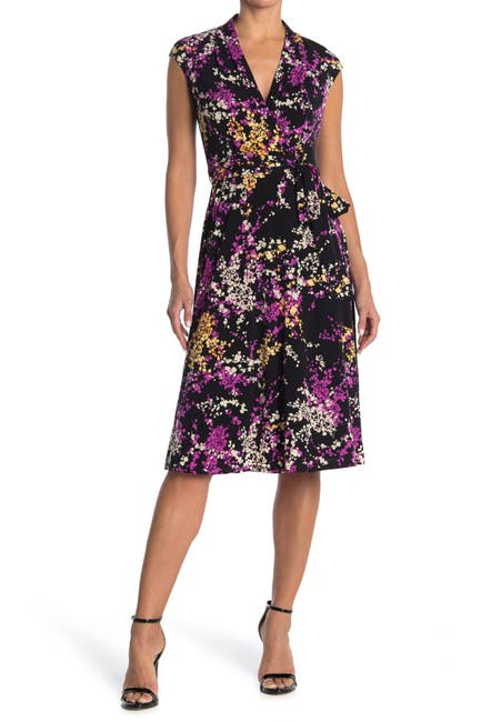 Image of London Times Jersey Floral Wrap Dress
