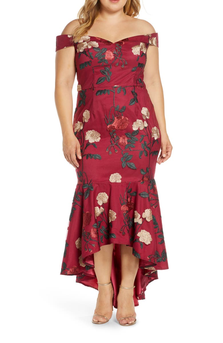CHI CHI LONDON Curve Osia Floral Embroidered Off the Shoulder Mermaid Gown, Main, color, 930