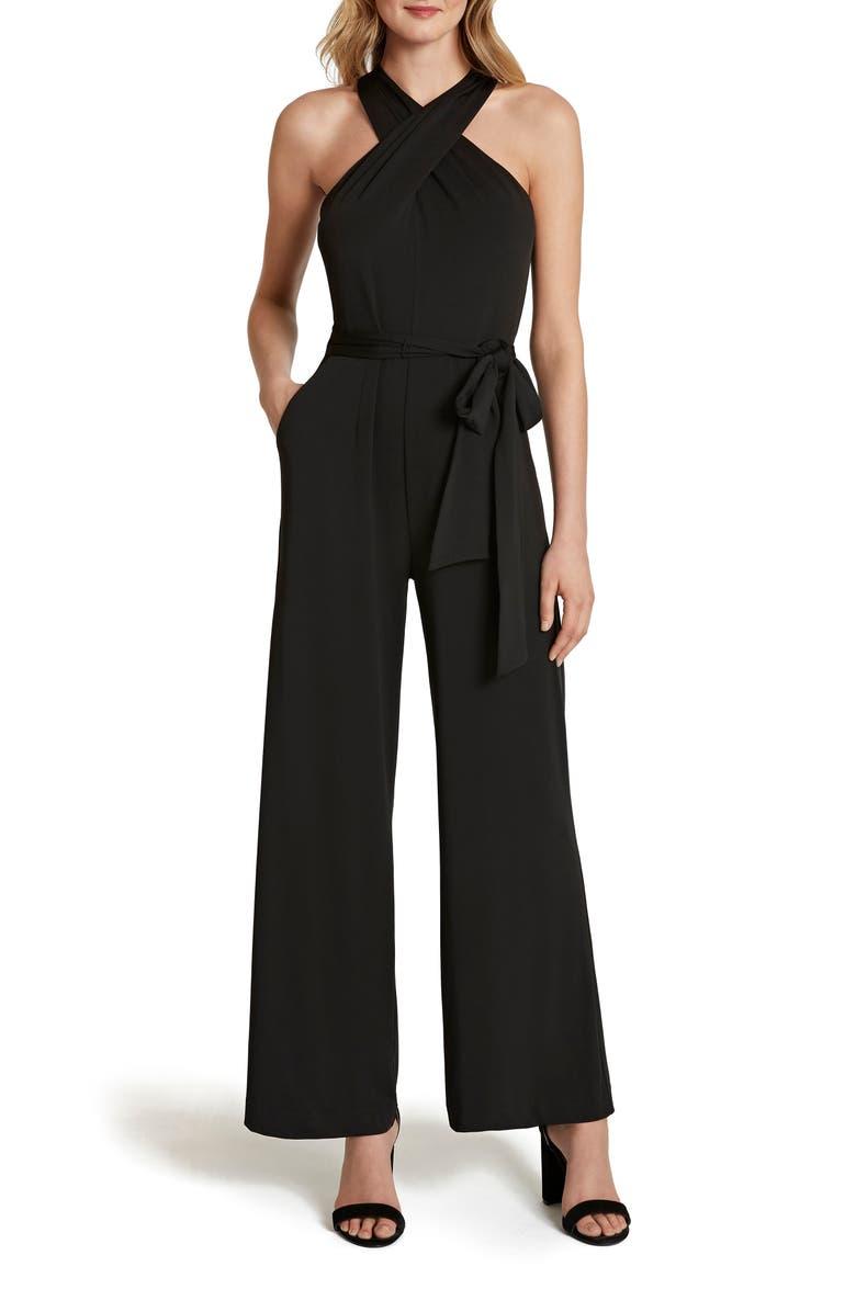 TAHARI Halter Neck Jumpsuit, Main, color, BLACK