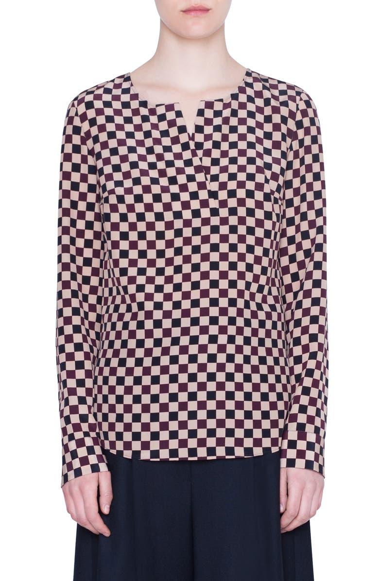 AKRIS PUNTO Chess Check Silk Blouse, Main, color, CHESS CHECK JACQUARD