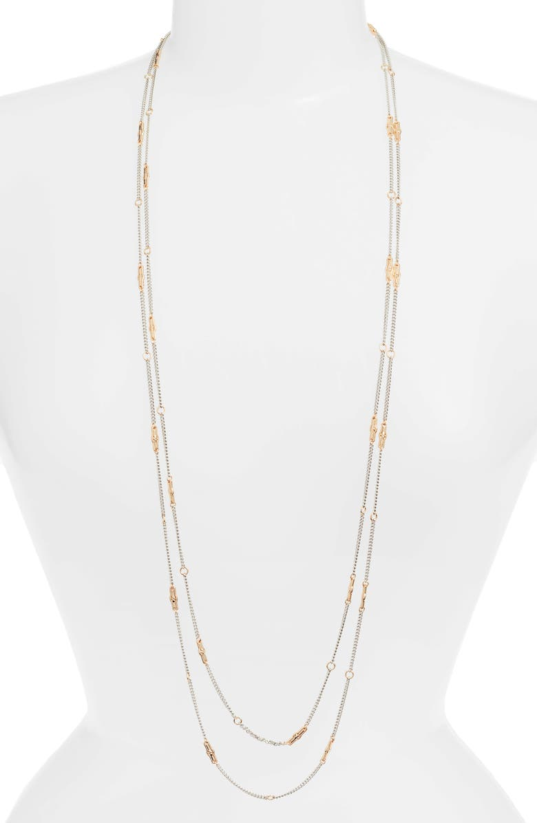 ALLSAINTS Long Layered Station Necklace, Main, color, SILVER/ GOLD