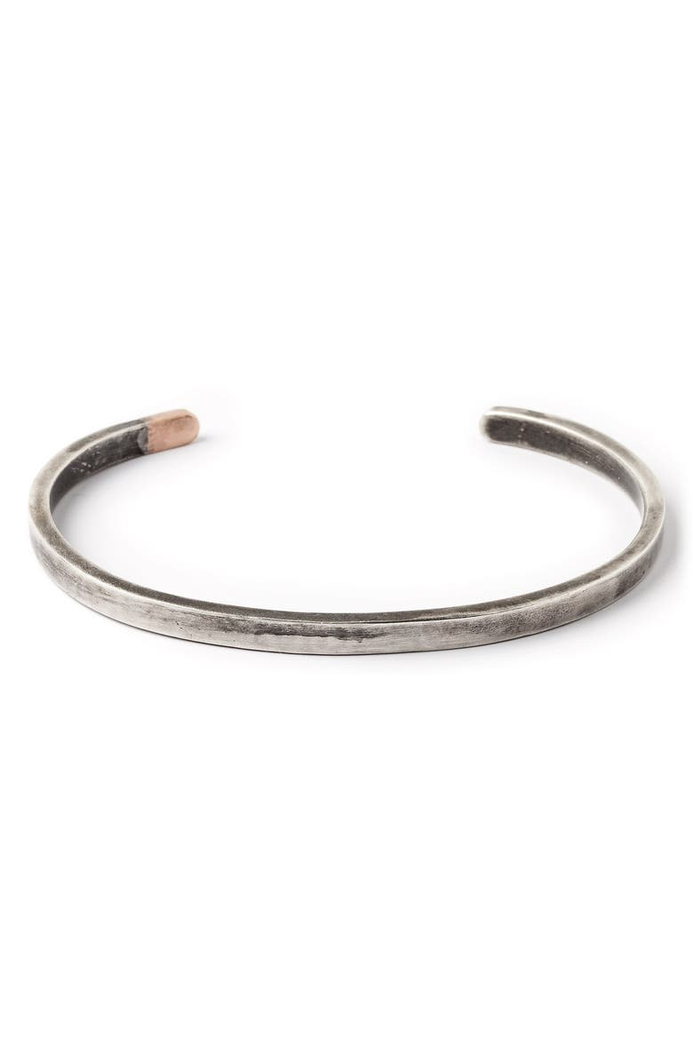 TITLE OF WORK Thin Cuff Bracelet, Main, color, SILVER/ ROSE