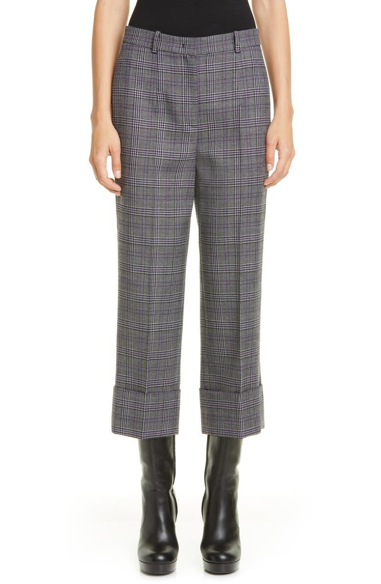 MICHAEL KORS COLLECTION Michael Kors Cuffed Crop Pants, Main, color, DAHLIA