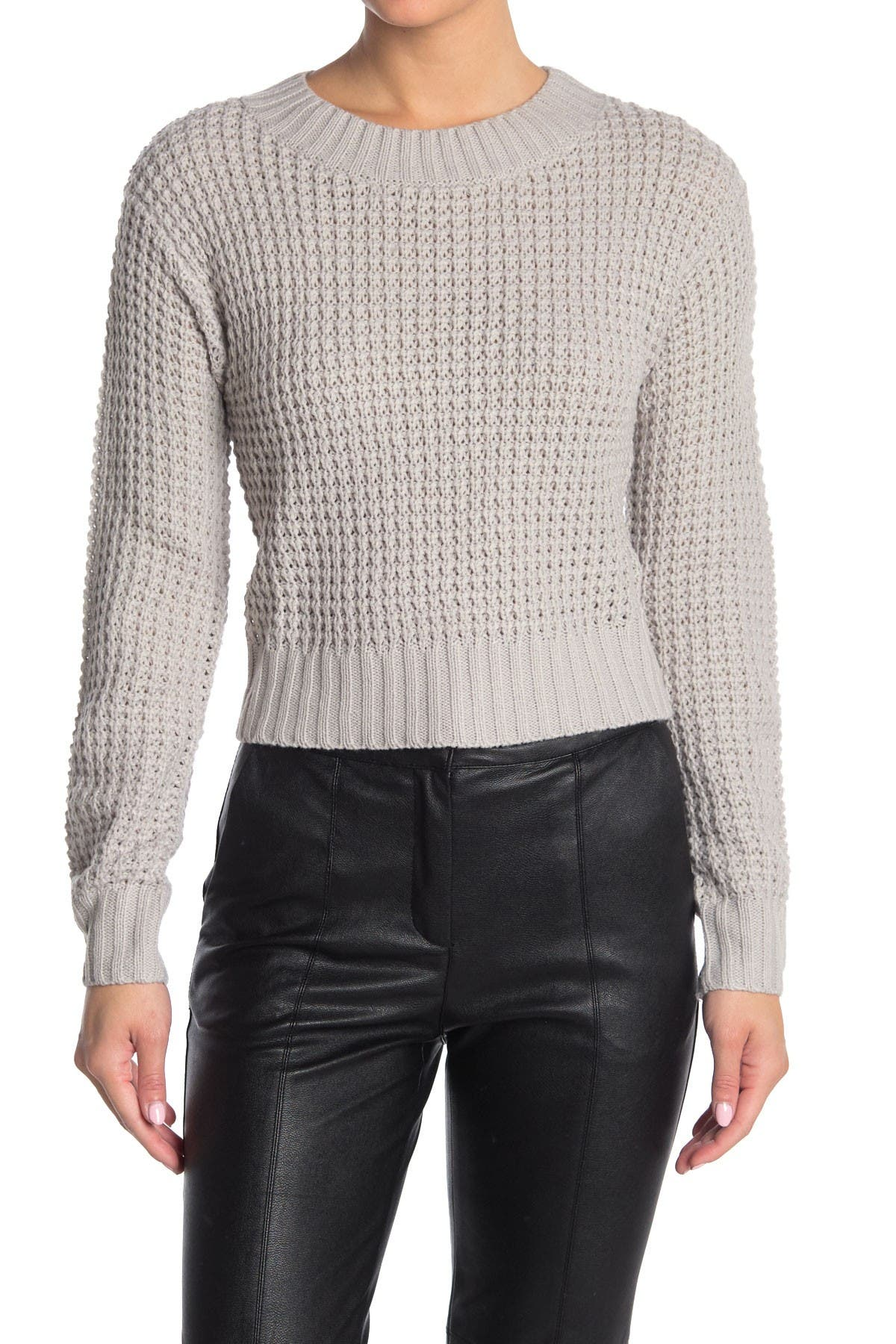 Image of Lush Waffle Knit Cropped Sweater