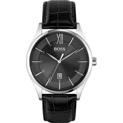 Boss Distinction Leather Strap Watch, 4m