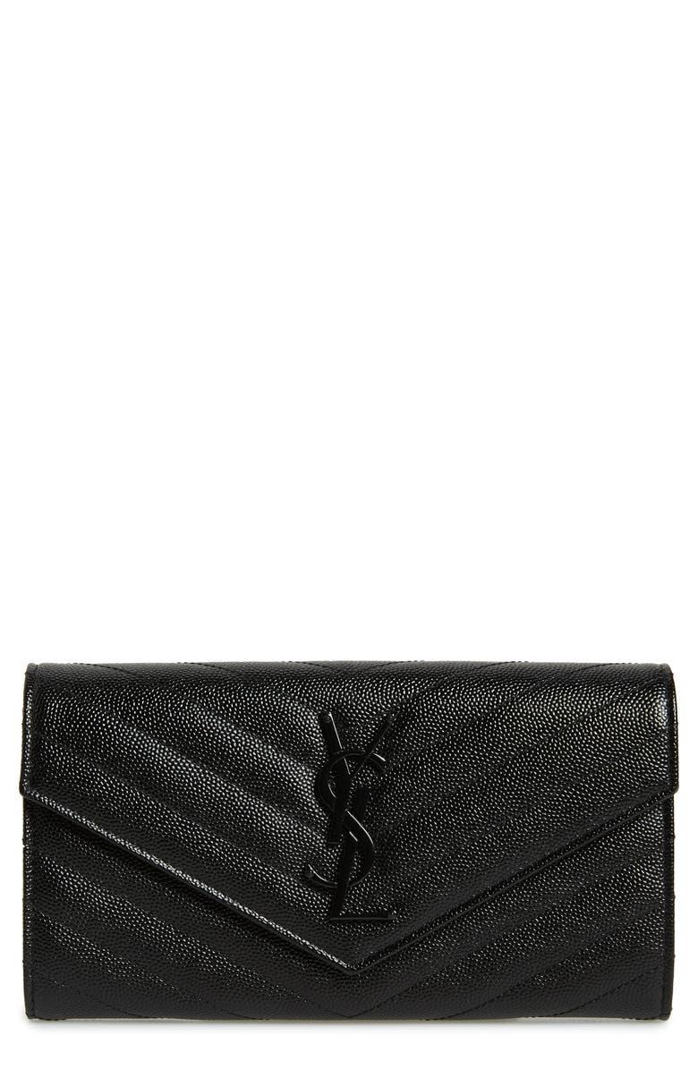 SAINT LAURENT Monogram Quilted Leather Wallet, Main, color, NOIR