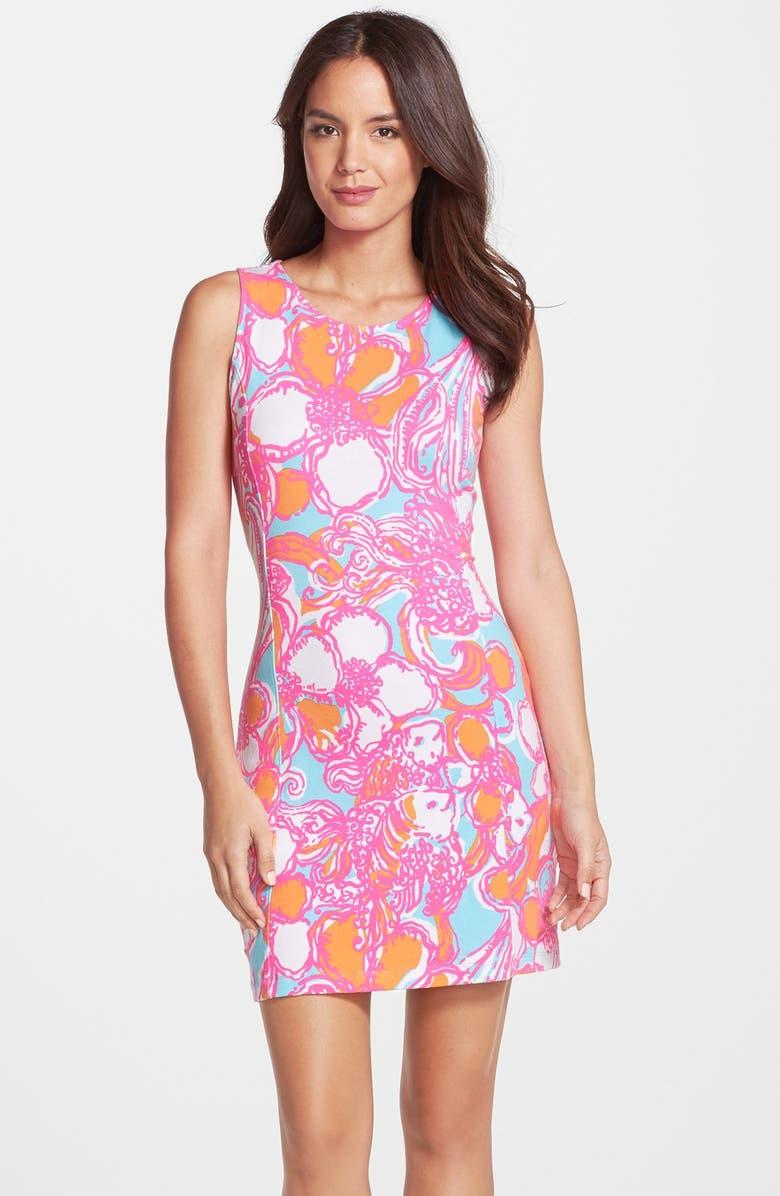 LILLY PULITZER<SUP>®</SUP> 'Whiting' Print Cutout Sheath Dress, Main, color, 655