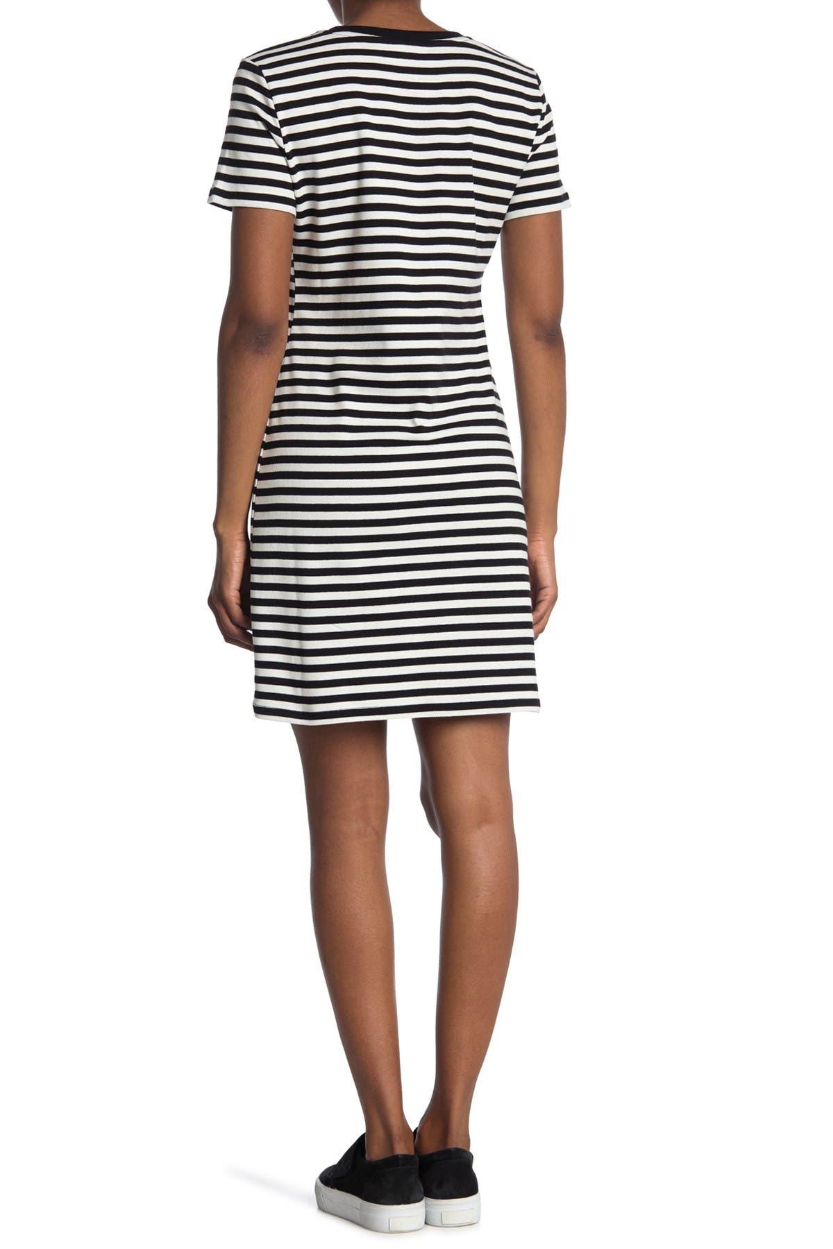 Image of Calvin Klein Stripe Logo Print T-Shirt Dress