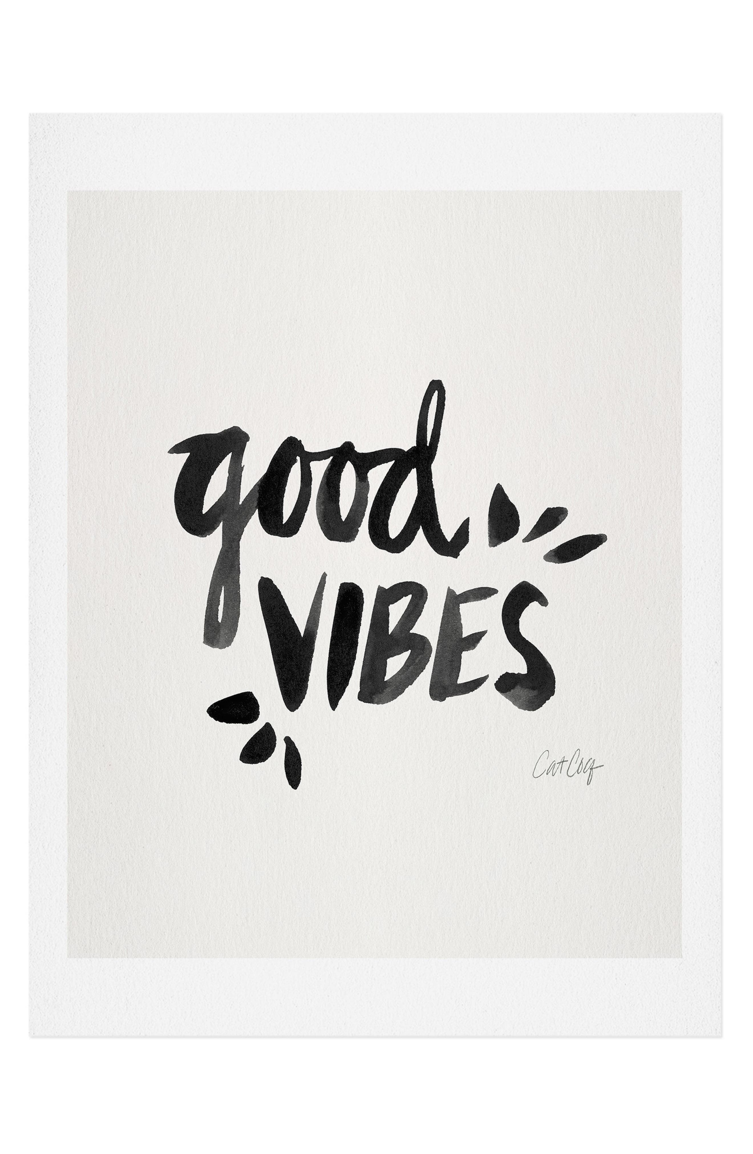 Good-vibes lettering by Cat Coquillette takes center stage on a satin-finish art print available on its own or in a ready-to-hang frame. Style Name: Deny Designs Good Vibes Art Print. Style Number: 5867306 1. Available in stores.