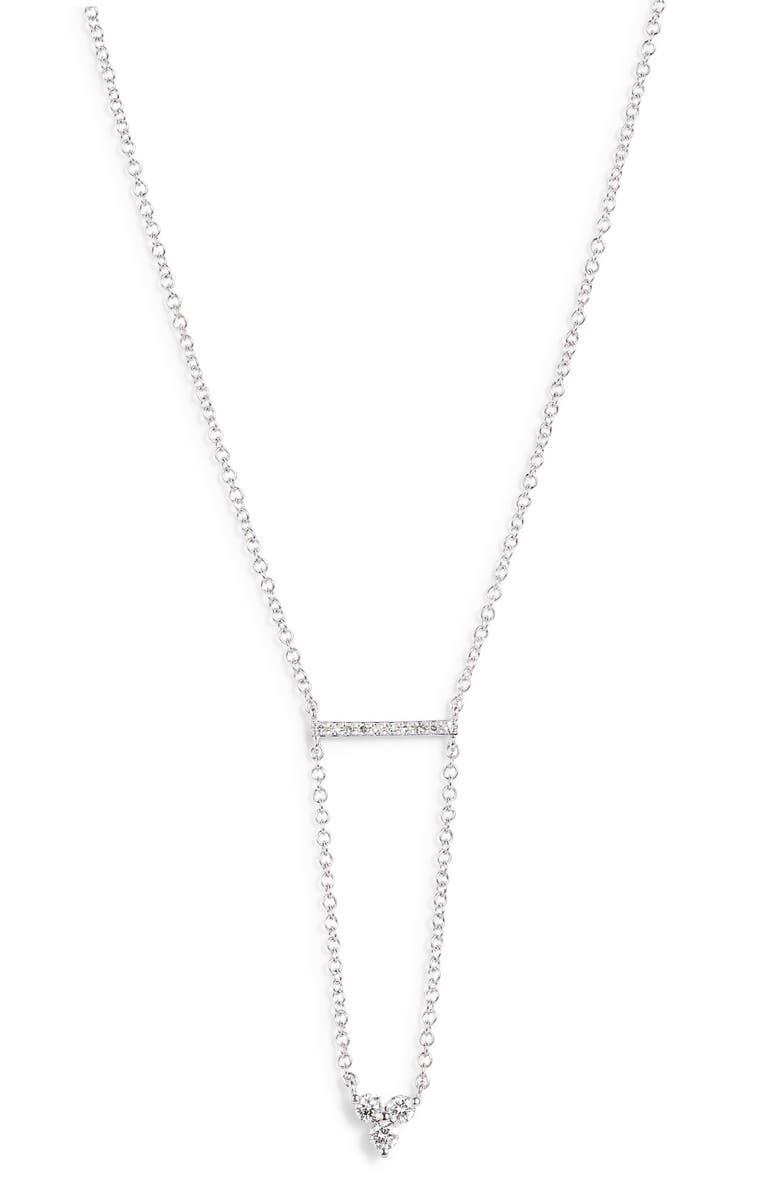 EF COLLECTION Mini Bar Trio Diamond Necklace, Main, color, WHITE GOLD/ PINK TONES