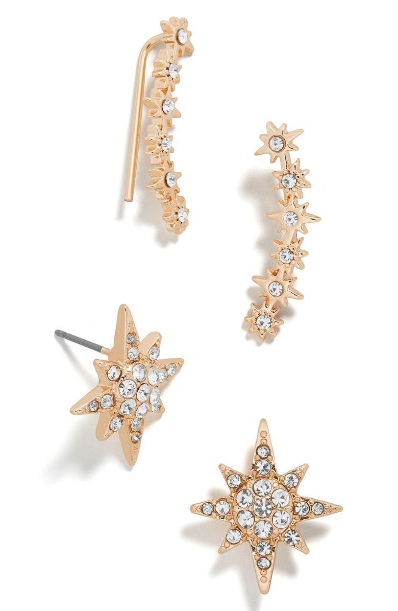 BAUBLEBAR Andromeda Crystal Ear Crawlers & Stud Earrings Set, Main, color, GOLD