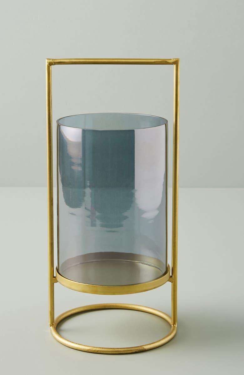 ANTHROPOLOGIE Medium Geometric Hurricane Candleholder, Main, color, GREY