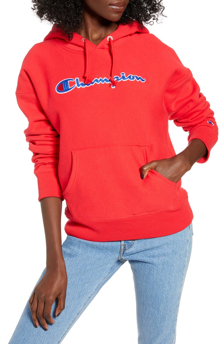 CHAMPION Chainstitch Logo Reverse Weave<sup>®</sup> Hoodie, Main, color, RED SPARK