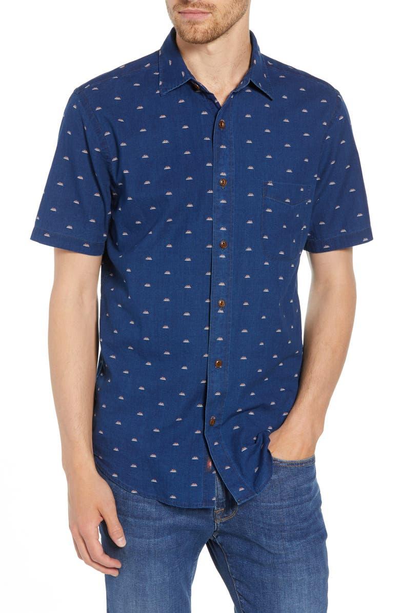 FAHERTY Coast Sunrise Indigo Shirt, Main, color, SUNRISE INDIGO PRINT