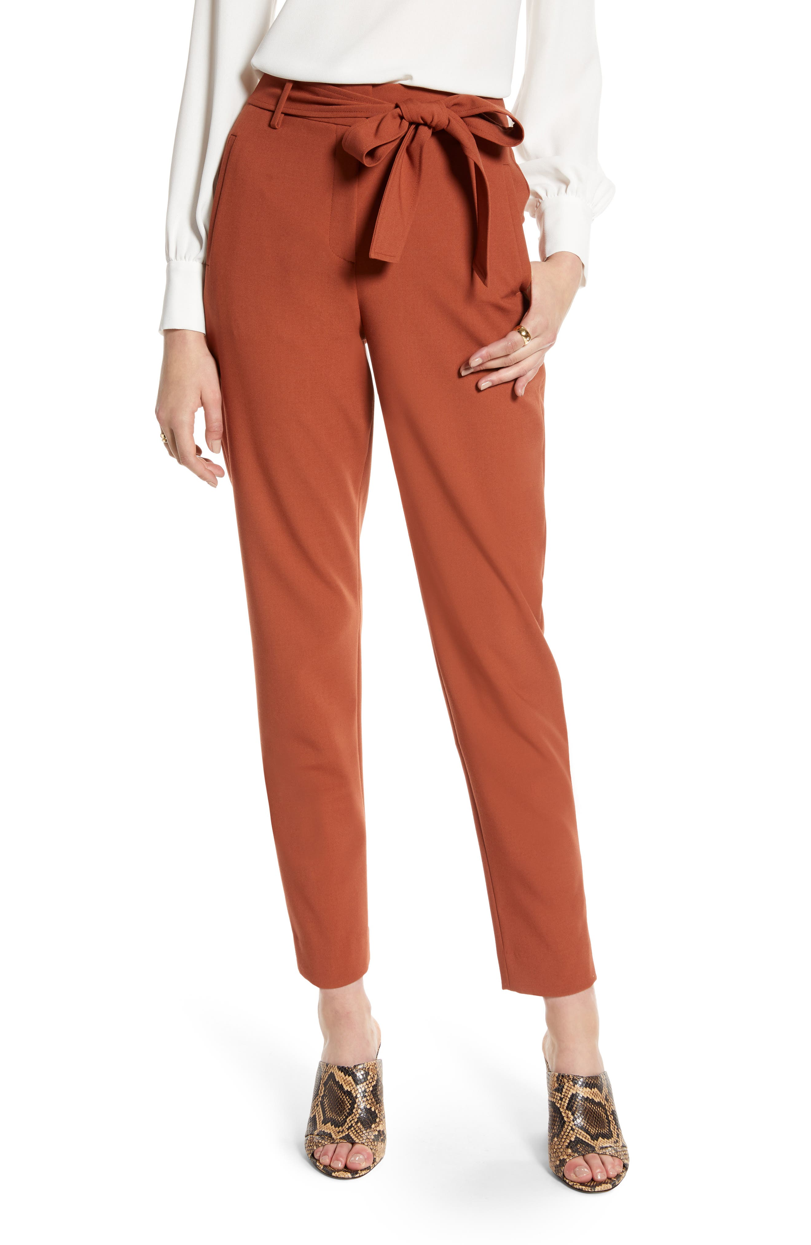 Halogen® Tie Waist Twill Pants (Regular & Petite)