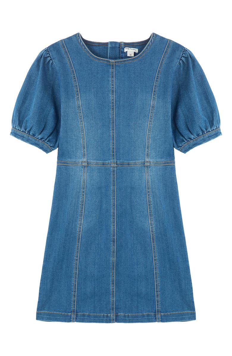 HABITUAL KIDS Kids' Puff Sleeve Denim A-Line Dress, Main, color, MED STONE