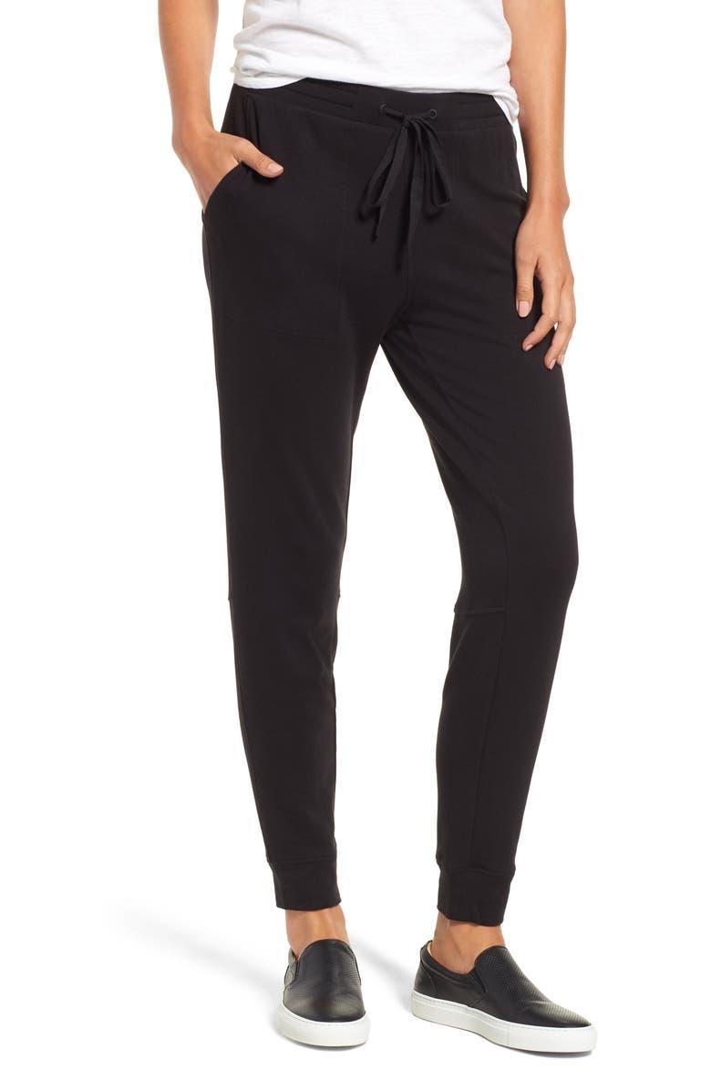 LOU & GREY Signaturesoft Plush Upstate Sweatpants, Main, color, BLACK