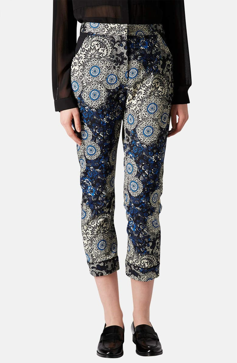 TOPSHOP 'Morrocan Tile' Print Cigarette Pants, Main, color, 400