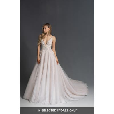 Hayley Paige Lauren Beaded Plunge Bodice Wedding Dress, Size - Ivory