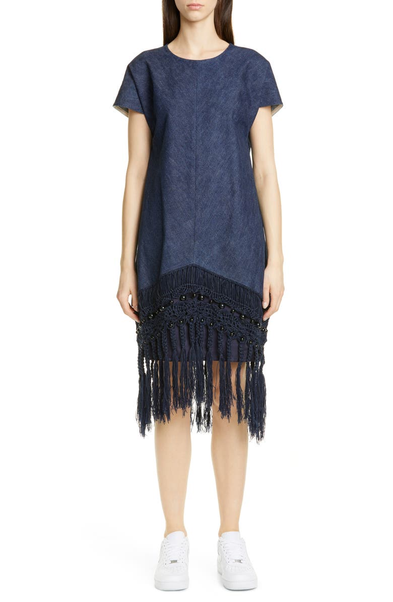 JUNYA WATANABE Macramé Fringe Denim Dress, Main, color, 400