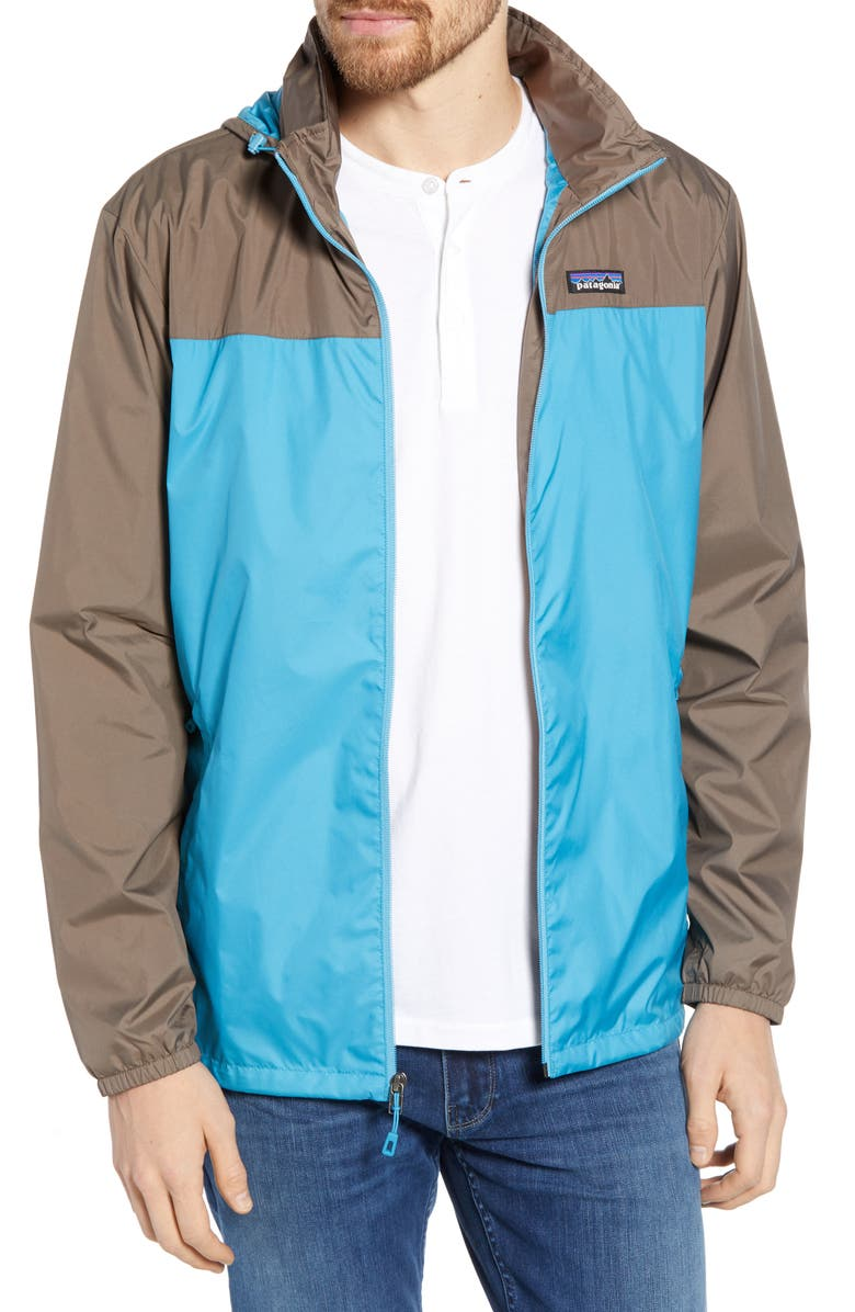 PATAGONIA Light & Variable<sup>™</sup> Recycled Wind & Water Resistant Hooded Jacket, Main, color, MAKO BLUE