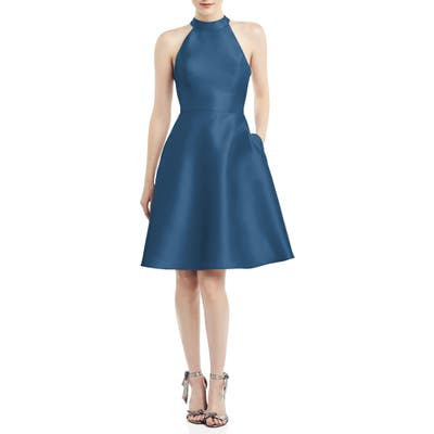 Alfred Sung Halter Style Satin Twill Cocktail Dress, Blue