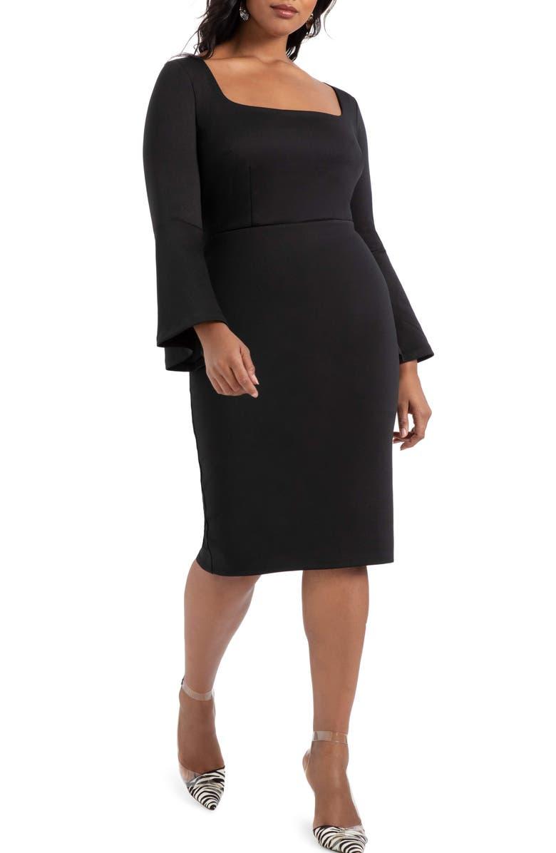 ELOQUII Long Sleeve Scuba Dress, Main, color, 001