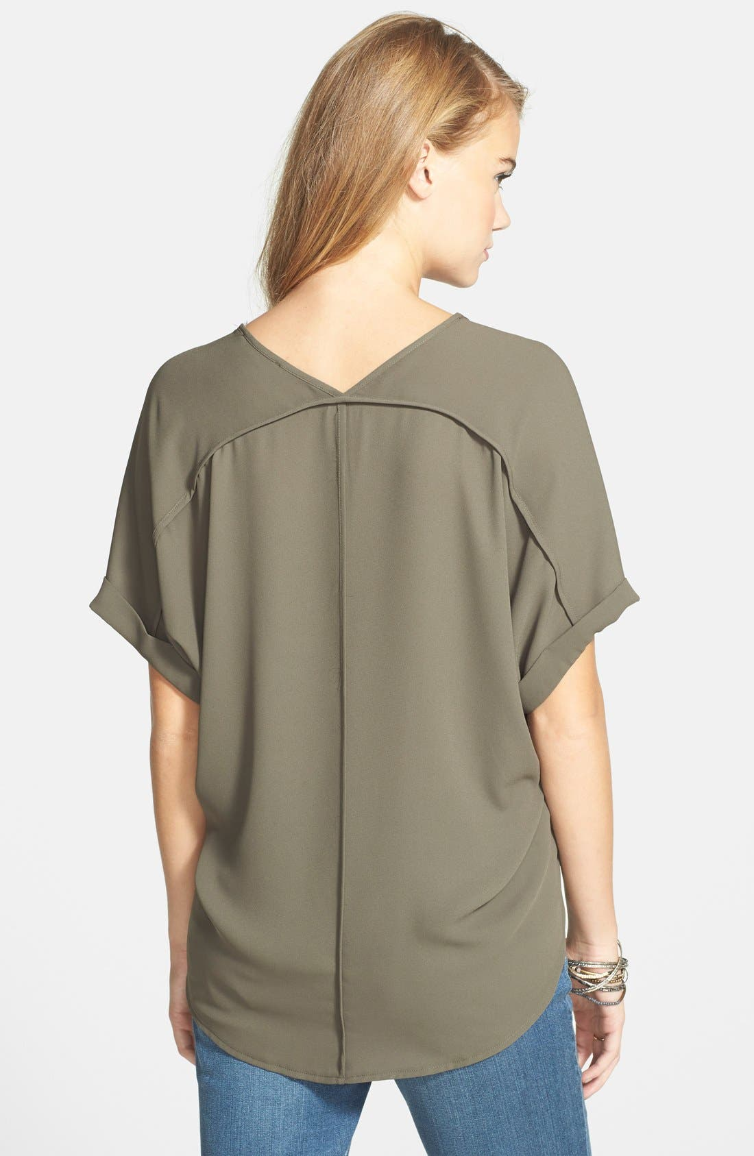 ,                             Lush Cuff Sleeve Woven Tee,                             Alternate thumbnail 44, color,                             302