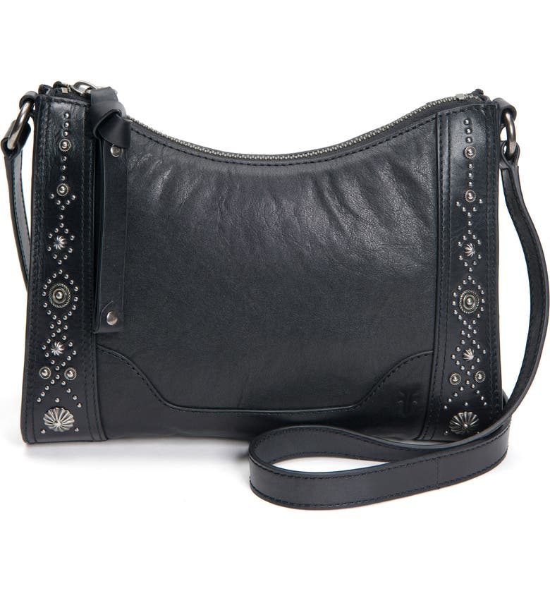 FRYE Melissa Concho Studded Leather Crossbody Bag, Main, color, 001