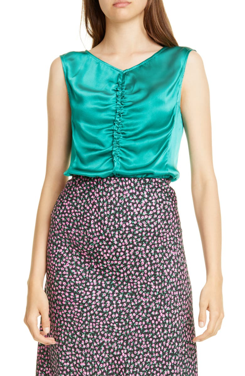 REBECCA TAYLOR Sleeveless Charmeuse Top, Main, color, GREEN