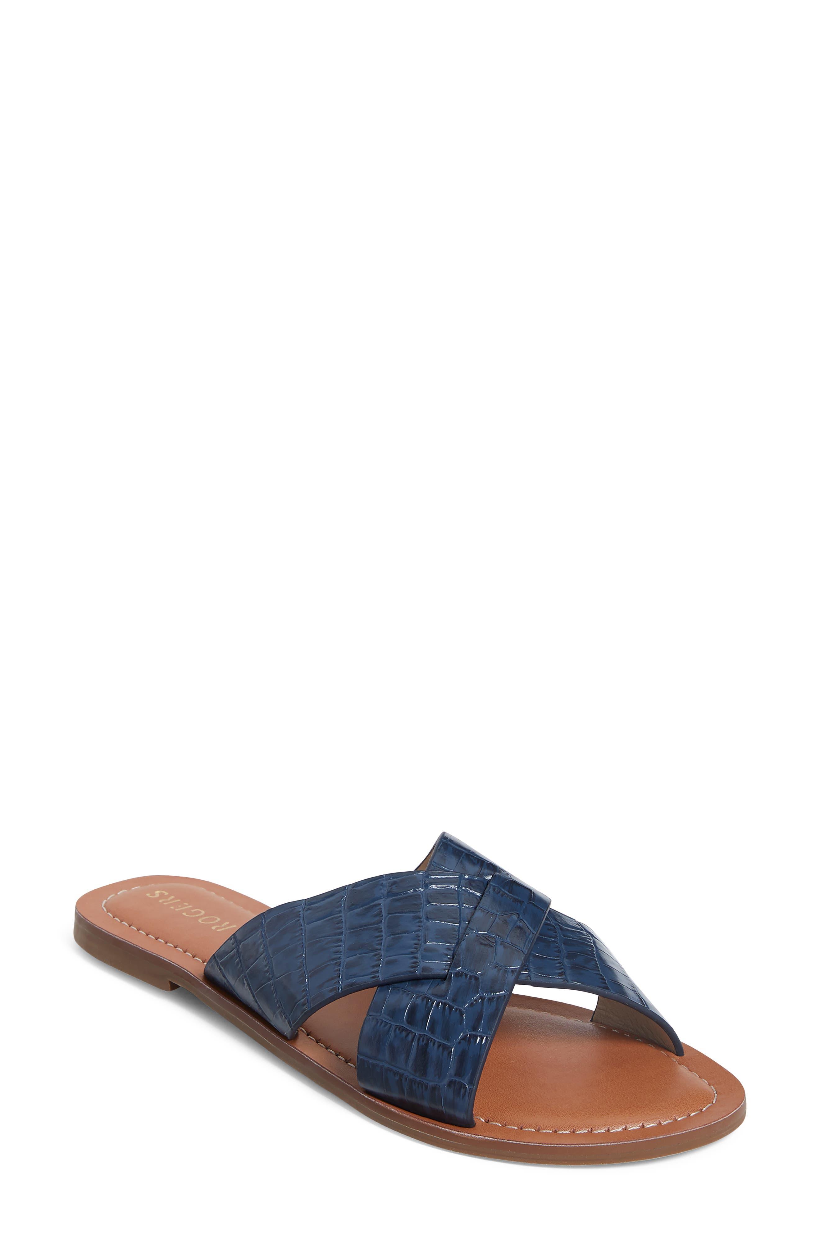Sloane Croc Embossed Slide Sandal
