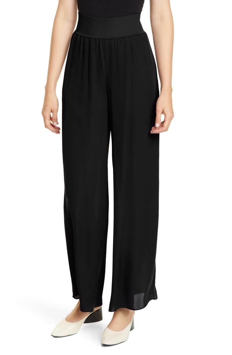 THEORY Rib Waist Wide Leg Silk Pants, Main, color, BLACK