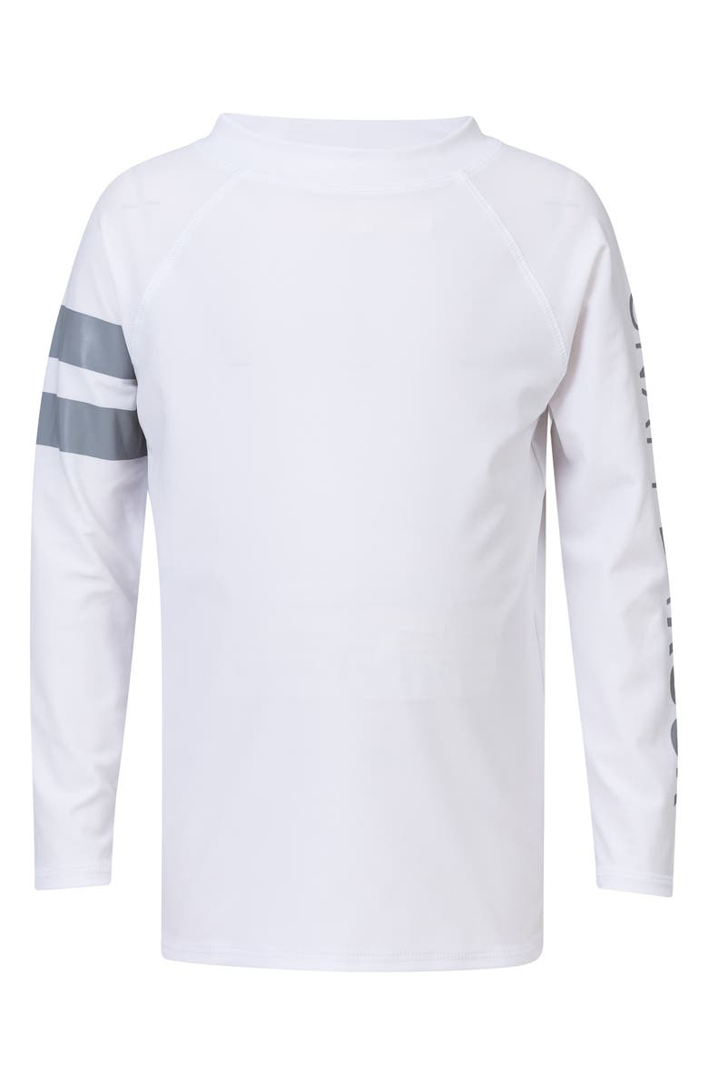 SNAPPER ROCK Raglan Long Sleeve Rashguard, Main, color, WHITE/ GREY