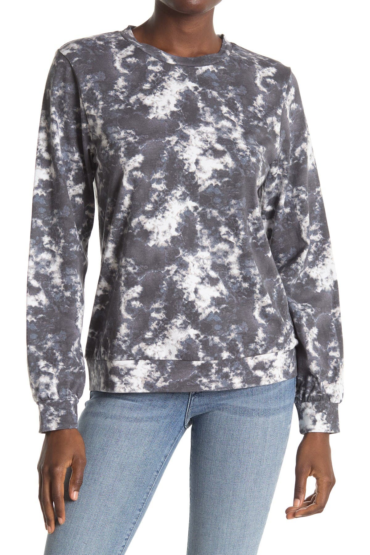 Image of Bobeau Washed Cotton Tie Dye Pullover Sweater