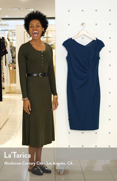 Cap Sleeve Scuba Crepe Sheath Dress, sales video thumbnail