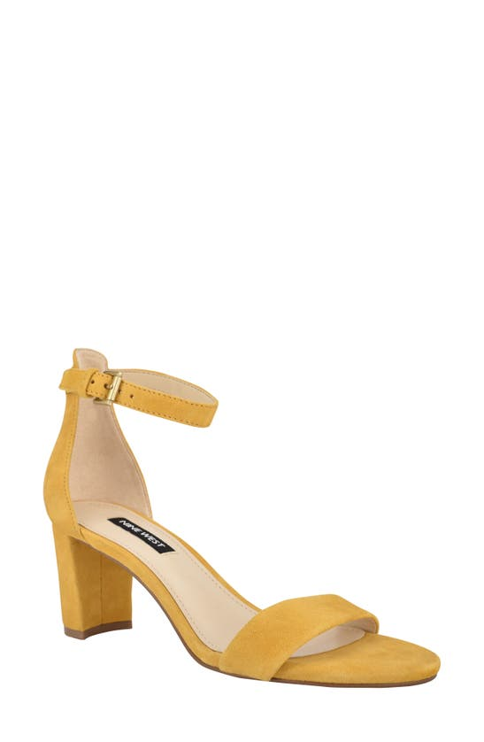 Nine West Women's Pruce Ankle Strap Block Heel Sandals Women's Shoes In Squash Suede
