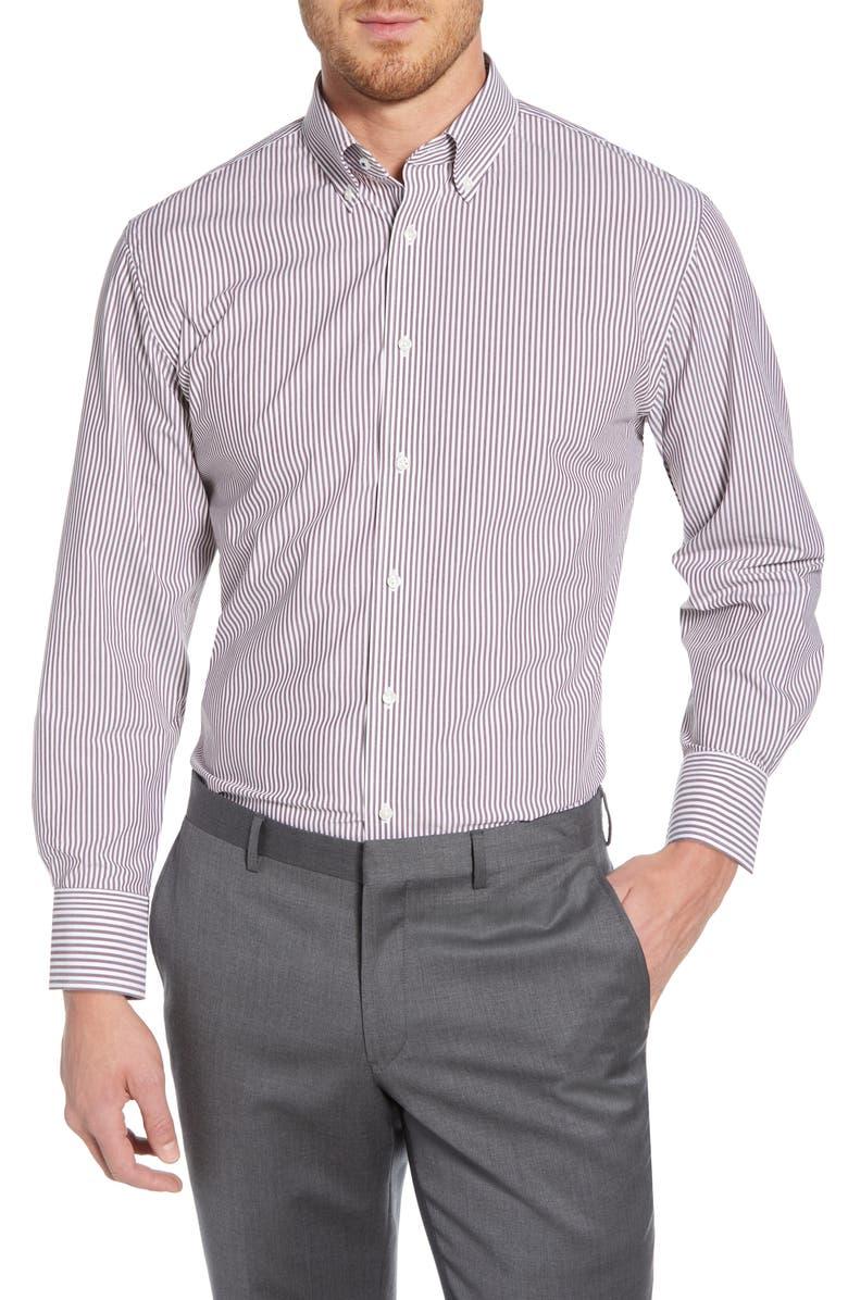 NORDSTROM MEN'S SHOP Tech-Smart Traditional Fit Stretch Stripe Dress Shirt, Main, color, BURGUNDY ROYALE