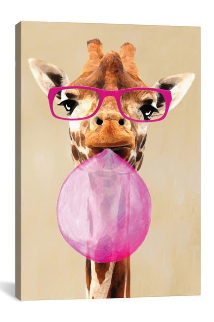 Image of iCanvas Clever Giraffe With Bubblegum by Coco de Paris