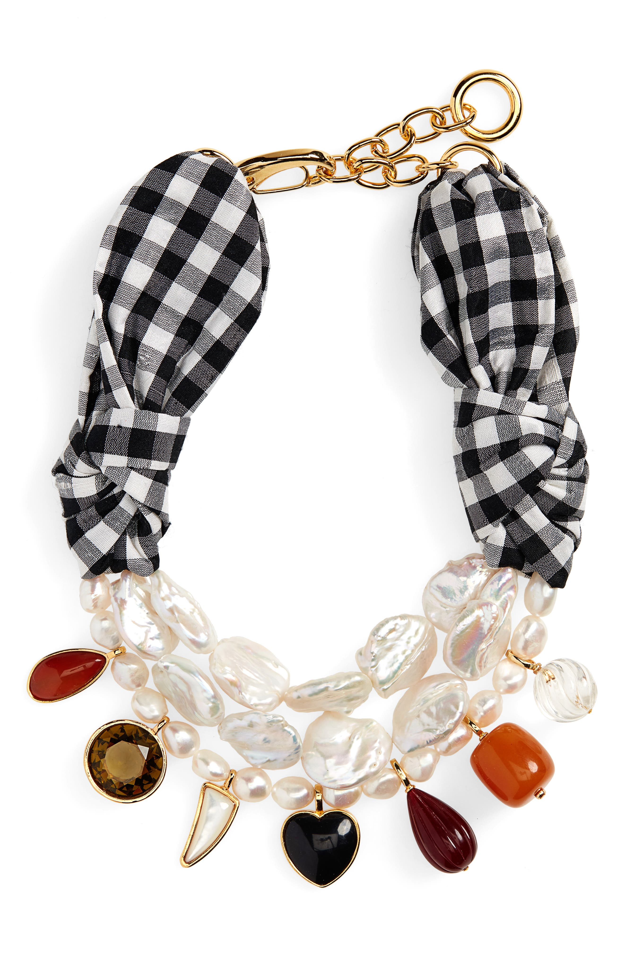 ,                             Lizze Fortunato Carolina Silk Necklace,                             Main thumbnail 1, color,                             BLACK AND WHITE GINGHAM