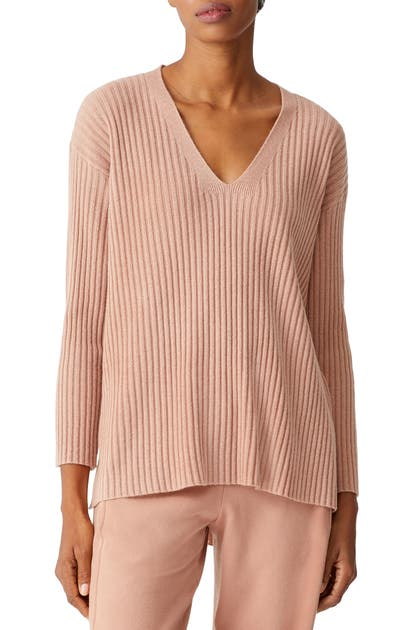 Eileen Fisher RIB V-NECK CASHMERE TUNIC