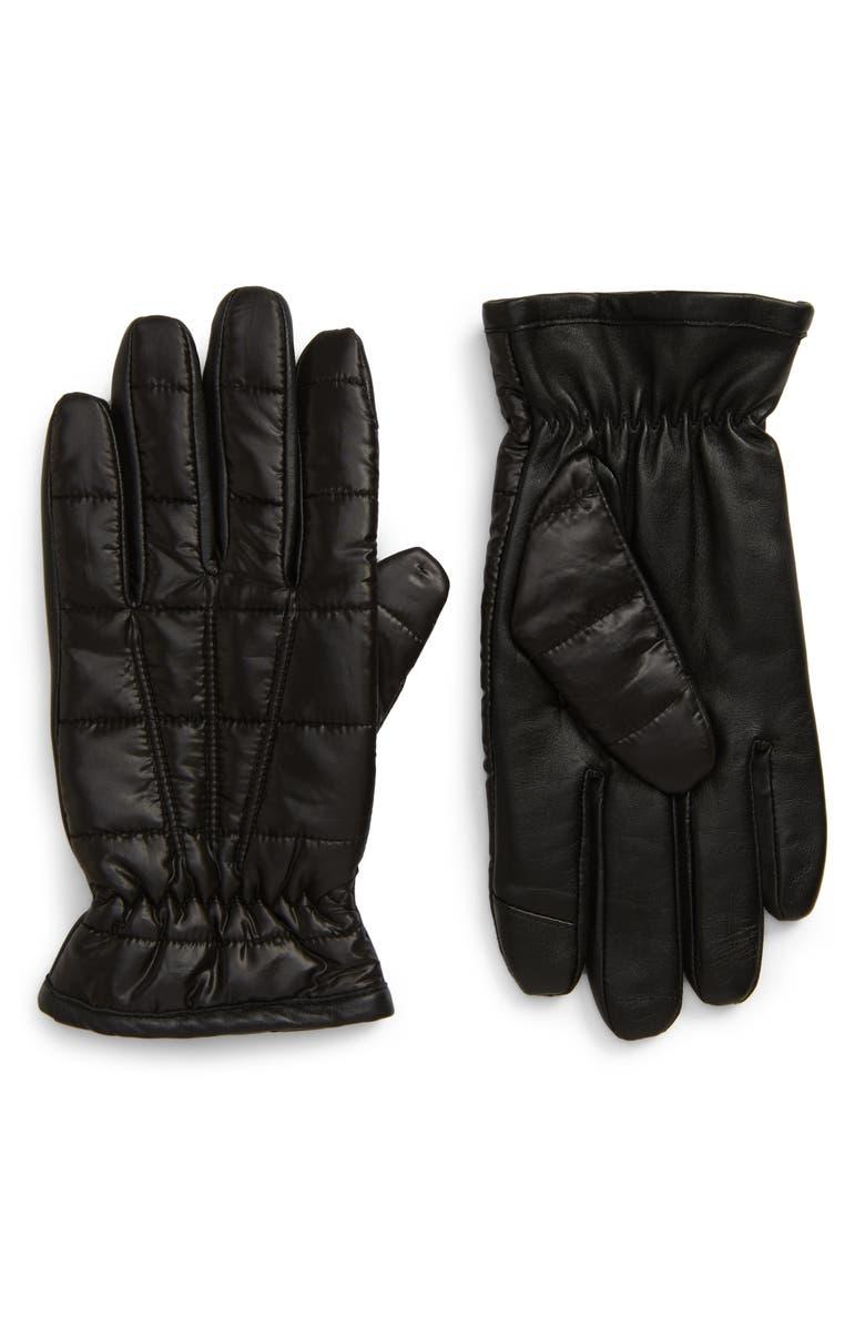 NORDSTROM MEN'S SHOP Touchscreen Puffer Gloves, Main, color, BLACK