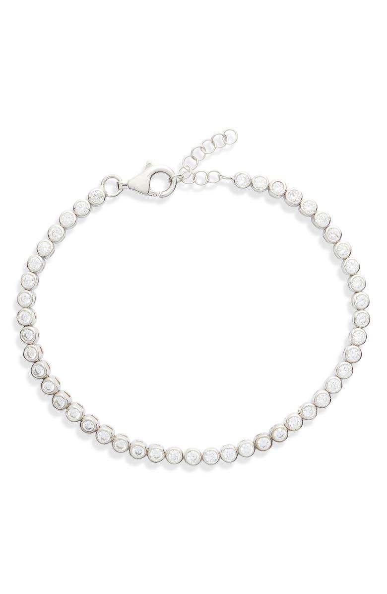 ADINA'S JEWELS Adina's Jewels Bezel Tennis Bracelet, Main, color, SILVER
