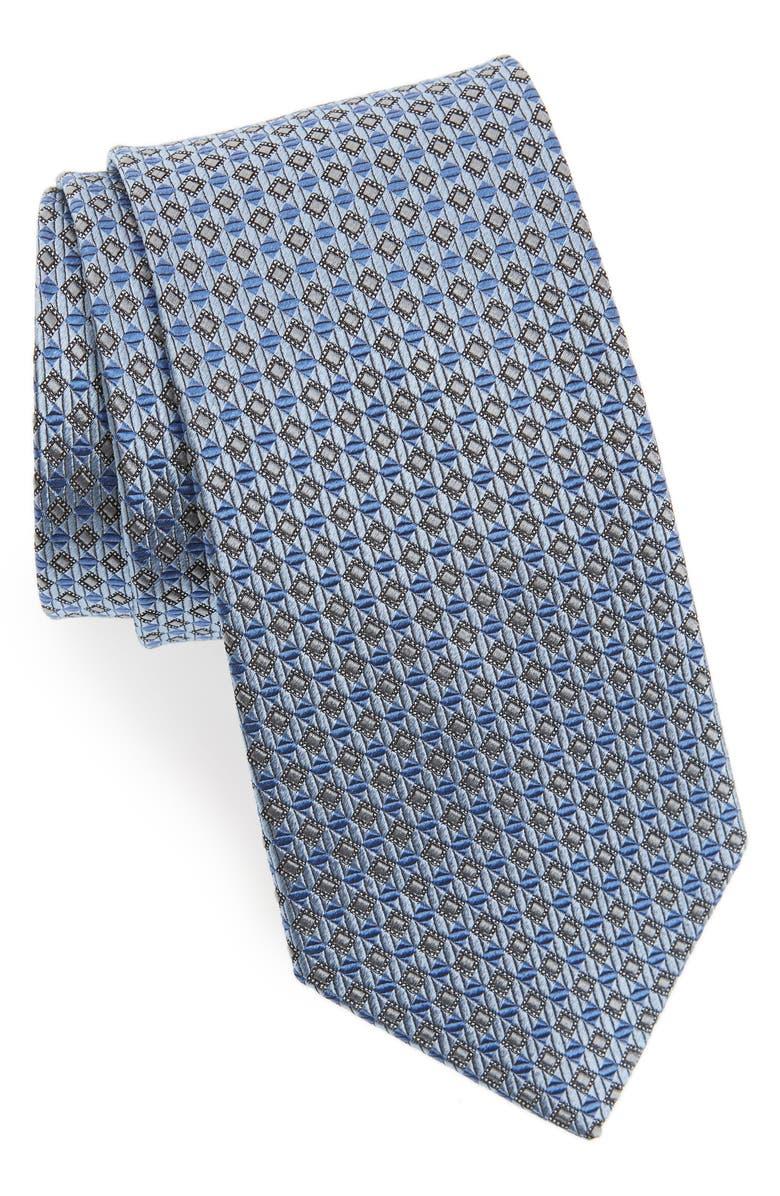 NORDSTROM MEN'S SHOP Check Silk Tie, Main, color, LT. BLUE