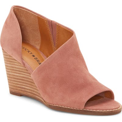 Lucky Brand Jaxy Open Toe Wedge- Pink
